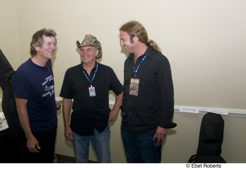 Rodney Crowell, Keith Sykes, Jed Zimmerman backstage at the Keith Sykes Songwriter Celebration held at the Agri Center  in Memphis, TN on September 5, 2008.